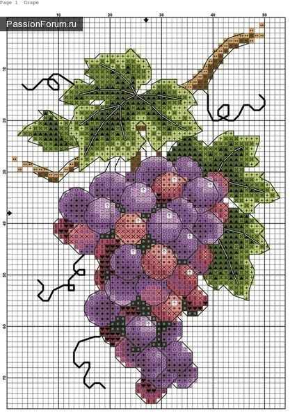 Cross-stitch Grapes.. no color chart, just use pattern chart colors as your guide.. or choose your own colors.