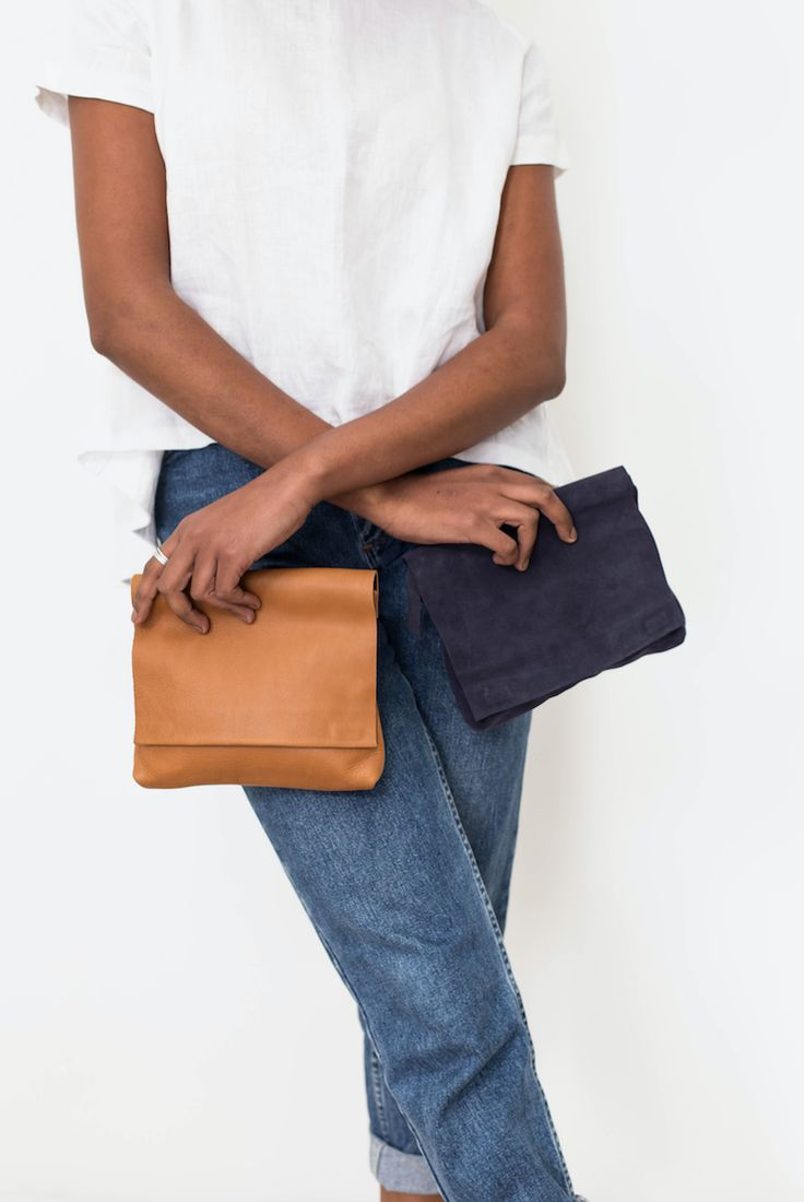 Large MOMO Clutches || in Tan & Navy Suede  #clutch #leather #suede #tan #navy