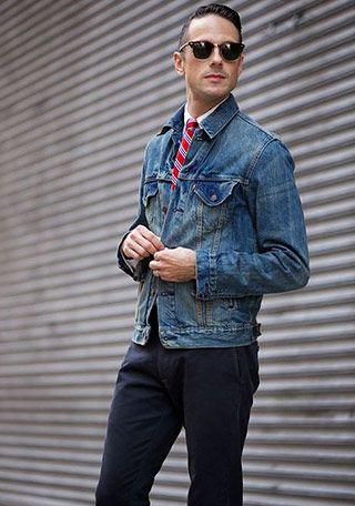 ネクタイの着こなし・コーディネート一覧【メンズ】 | Italy Web デニムジャケット×ネクタイの着こなし