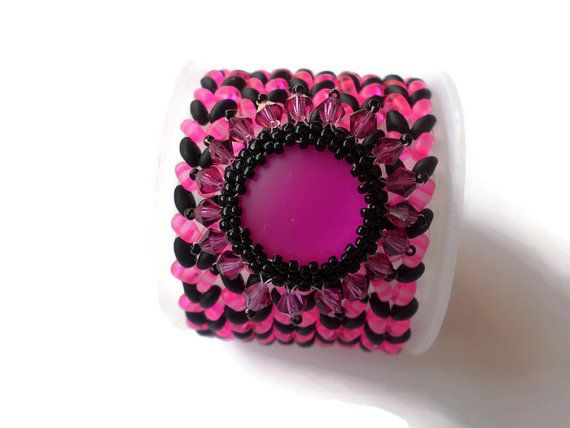Black and Pink Chequered Beaded Bracelet Cuff Twin bead