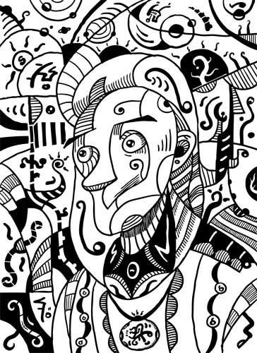 Black & White Surrealism Philosopher Drawing | Sotuland Art