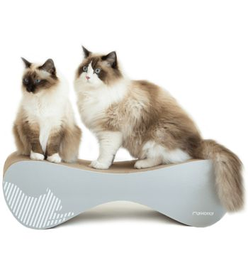 The VIGO cardboard cat scratcher by myKotty is a stylish, multifunctional piece of cat furniture that playful pussies will love getting their claws into.