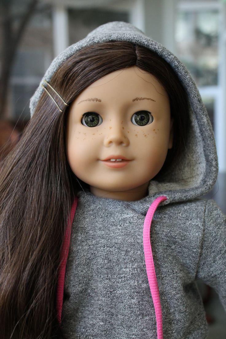 Beautiful #55 jly MyAG doll 18 inch doll clothing American Girl grey hoodie sweatshirt. $10.00, via Etsy.