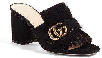 Gucci Marmont Peep Toe Mule (Women)