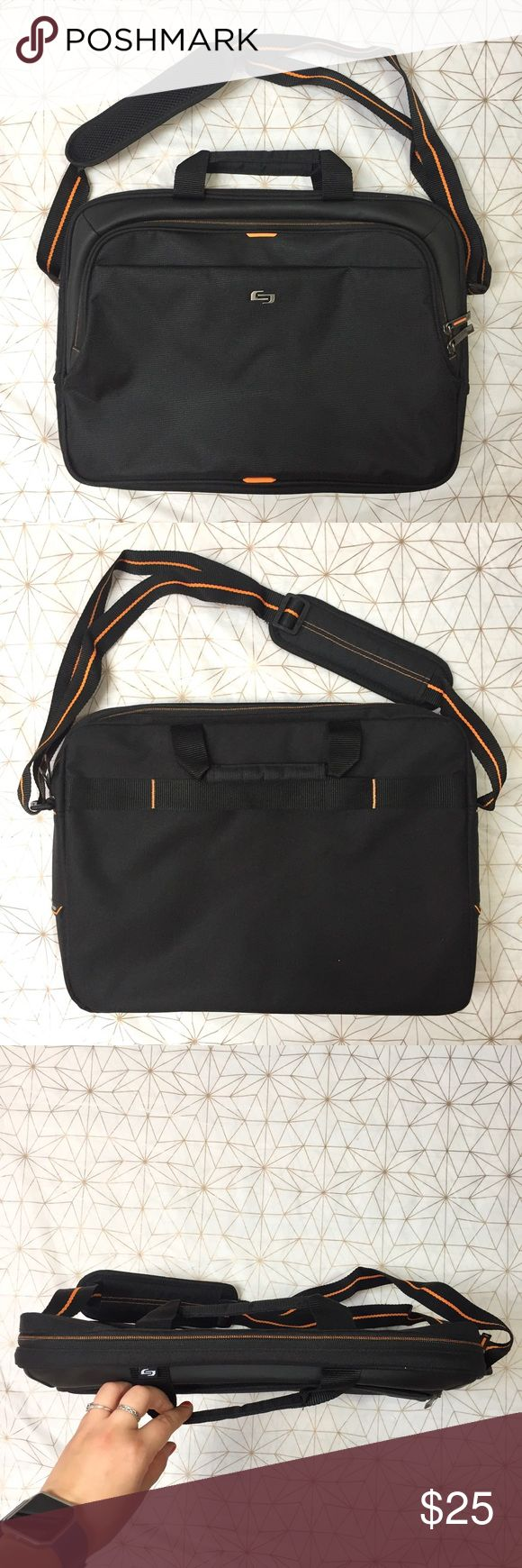 """EUC Solo black and orange laptop bag - Material: N/A - Condition: perfect - Color: black and orange - Pockets: yes - Lined: yes - Closure: zippers - Style: laptop bag - Extra notes:   *Measurements:  Length: 18"""" Width: 13"""" Shoulder drop: adjustable to be longer or shorter Solo Bags Laptop Bags"""