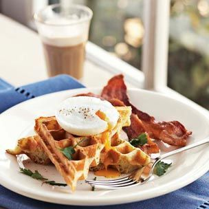 Savory Waffles with Poached Eggs and Bacon.... yuuuummm!