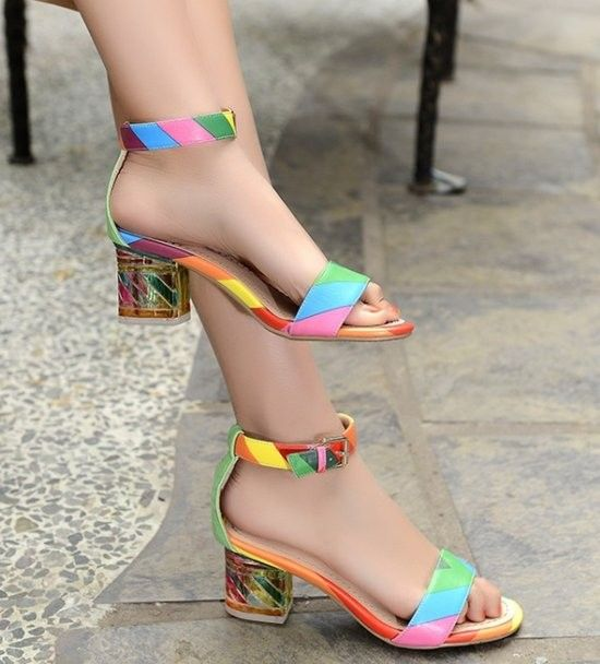 rainbow color ankle strap high heel sandals