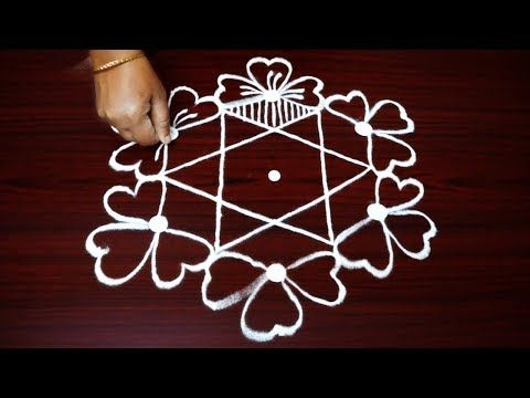 easy and simple flower rangoli designs - latest kolam designs - muggulu with 7x4 dots - YouTube