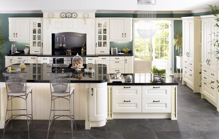 wohnideen küche französisch landhaus stil eiche holz granit - k che auf franz sisch