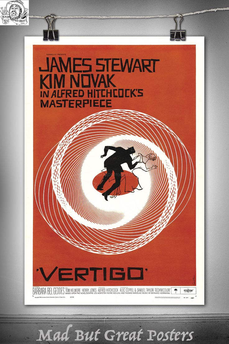 Vertigo - Alfred Hitchcock - 1958, movie poster, vintage, wall art, home decor, film noir, fine art, office, giclee, english, director, ink by MadButGreatPosters on Etsy