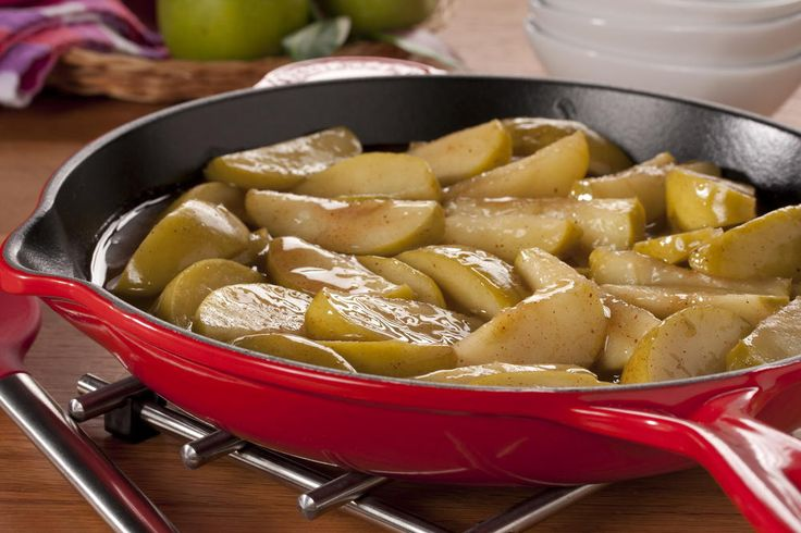Fried Apples | MrFood.com  2 1/2 cups apple juice  4 Golden Delicious apples, unpeeled, cored, and cut into wedges  1/3 cup sugar  3 tablespoons cornstarch  1 teaspoon ground cinnamon  1/4 teaspoon nutmeg