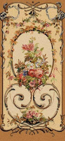 """This lovely Belgian Portiere tapestry was inspired by original decorated wooden panels by Rembrandt. This tapestry is """"Jessica"""" and is avail. for sale from this site"""