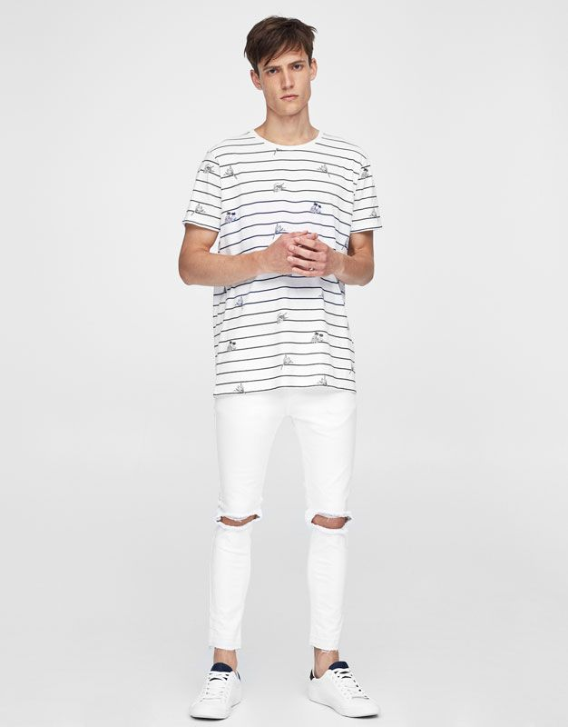 Jeans superskinny fit blanco rotos - Jeans - Ropa - Hombre - PULL&BEAR Colombia