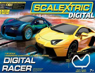 The Scalextric Digital Racer Set offers the Slot Car enthusiast a super Digital Scalextric set which includes two cars, controllers and a good starter layout that can be extended with any of the Scalextric Buildings and Track.