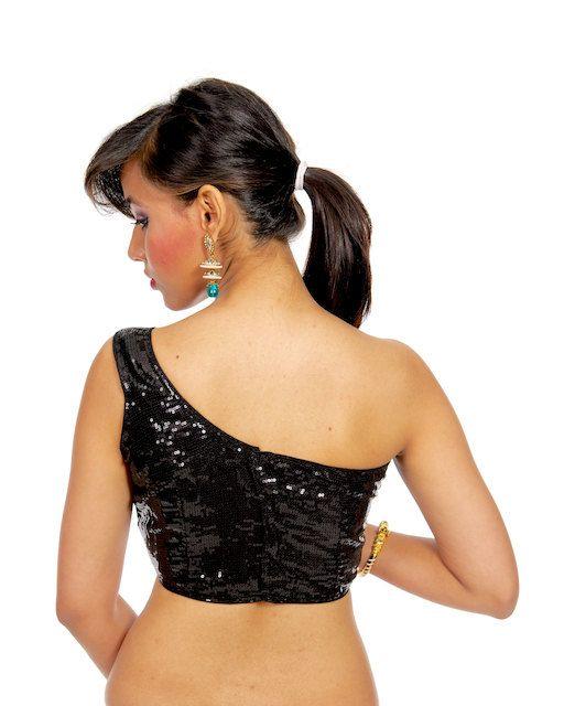 Indian Silver Sequin Sari Blouse one shoulder saree choli crop top