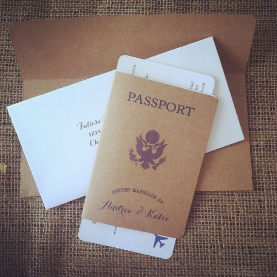 This invitation set is sure to impress your guests and its perfect for a destination wedding! Each invitation set includes: One Passport (3 pages