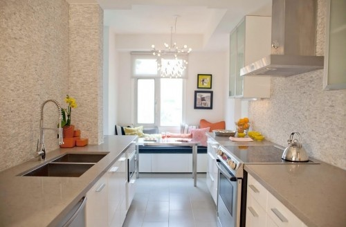 Light grey quartz countertops kitchen remodel for Galley kitchen with breakfast nook