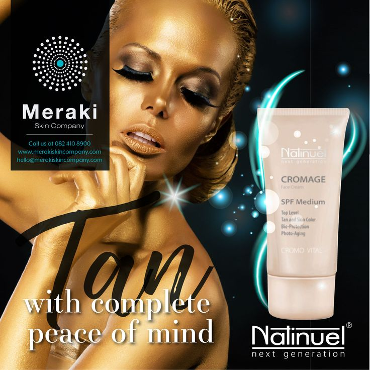 Natinuel Cromage protects the skin from UV damage while still allowing you to tan - preventing sunburn and making your tan more natural, even and long-lasting. For more information visit our website www.merakiskincompany.com or contact us at hello@merakiskincompany.com #MerakiSkinCompany #Natinuel #ProfCeccarelli