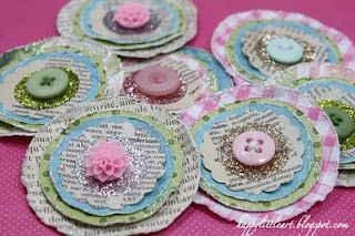 Cute Paper Posies - To use up scrapbook paper pieces and extra buttons you have collected.