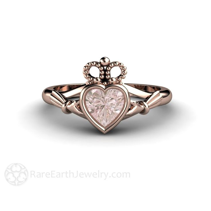 Morganite Claddagh Ring Irish Engagement Ring or Promise Ring Pink Gemstone