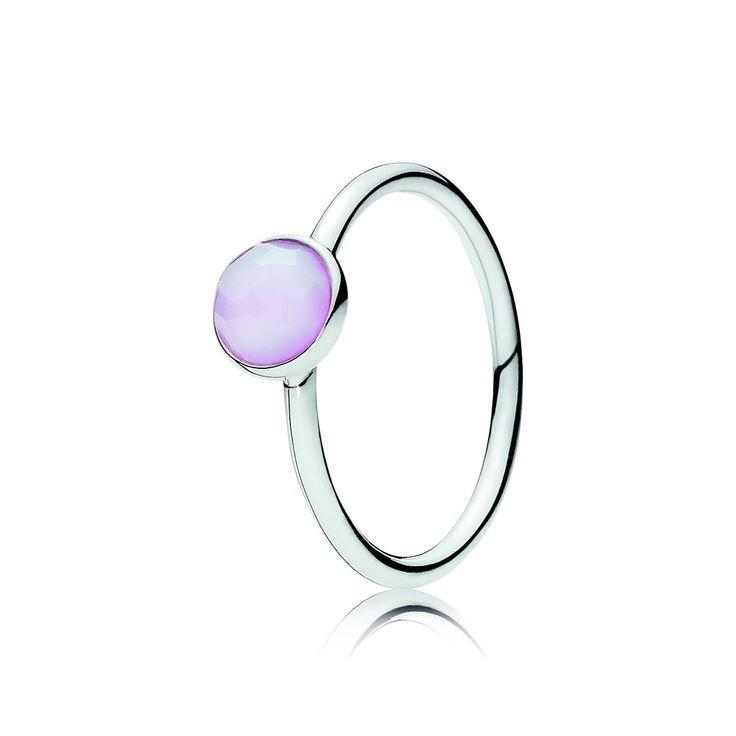 Pandora ring 191012NOP met geboortesteen Roze Opaal Kristal
