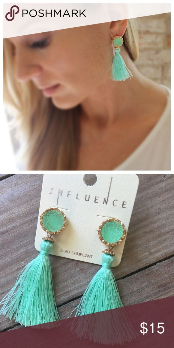 Mint boho circle druzy fringe earrings As shown Jewelry Earrings