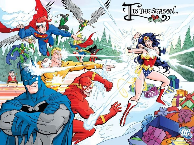 Tis the Season.... FOR A SUPERHERO SNOWBALL FIGHT!: Christmas Cards, Geek Fashion, Comic Books, Dc Comic, Snowball Fight, Holidays Cards, Fans Art, Wonder Woman, Justice League