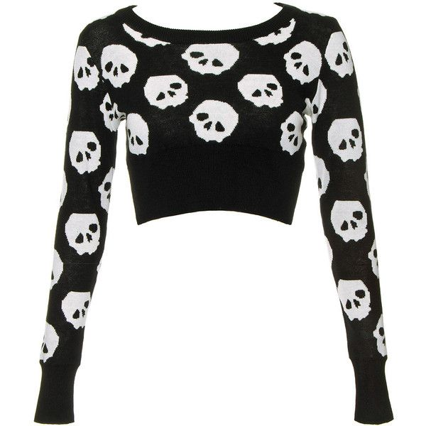 Jawbreaker Skulls Crop Jumper (Black/White) (£30) ❤ liked on Polyvore featuring tops, sweaters, shirts, crop tops, jumpers sweaters, black and white tops, skull print sweater, black and white shirt and crop shirts