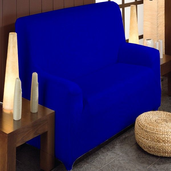 Fundas Sofá elásticas color Azul Eléctrico modelo Túnez, para sofás de 1 plaza, 2 plazas, 3 plazas y 4 plazas. confeccionadas con un tejido jacquard elástico de alta calidad.