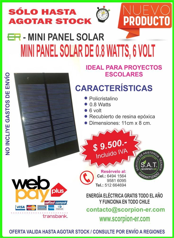 Mini panel solar 6 vol 0.8watts