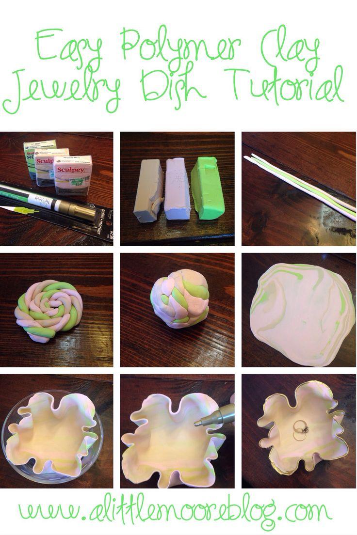 Polymer Clay Jewelry Dish Tutorial by alittlemooreblog.com