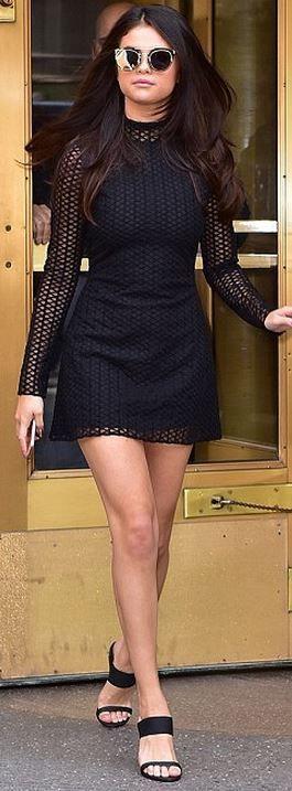 Who made  Selena Gomez's black long sleeve dress?