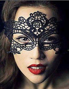 Máscara Fantasias Trajes da Noite das Bruxas Preto Rendas / Cor Única Máscara Dia Das Bruxas Unisexo Malha
