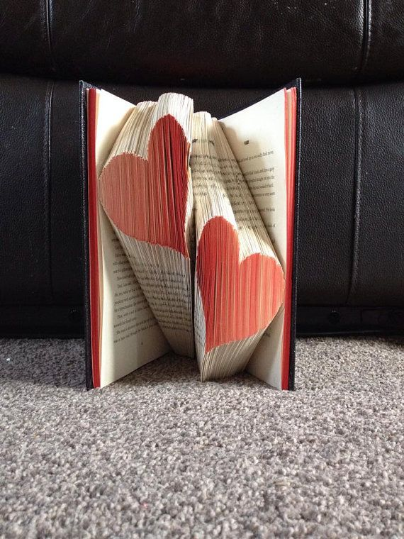Multiple two Heart Folded Book Art **Pattern** Instant download PDF Book Folding Origami Free Tutorial/ Instructions