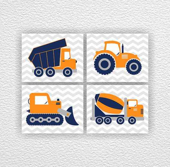 Set 4-8х10, Truck, Bulldozer, Tractor, Cement Truck, Construction art, Navy Blue, Orange, Nursery Printable, Instant Download