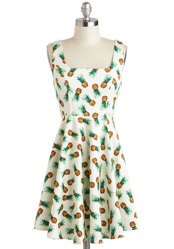 Afternoon at the Oasis Dress in Pineapples - White, Green, Brown, Novelty Print, Casual, Fruits, A-line, Tank top (2 thick straps), Cotton, Mid-length, Summer