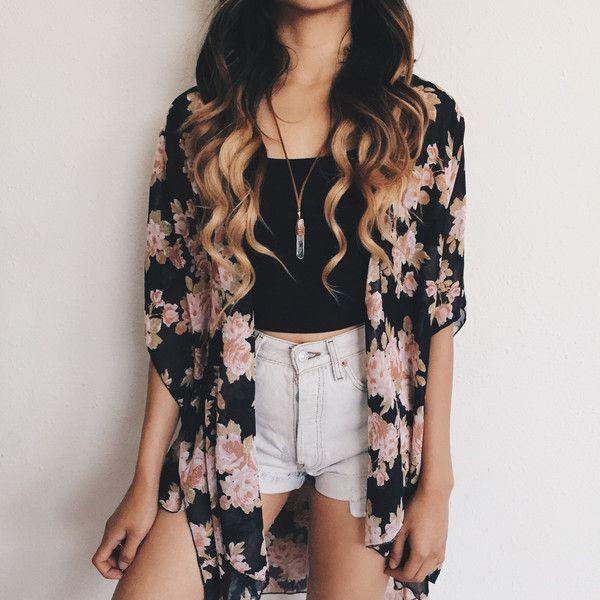 Celeste Floral Kimono (Black/Light Pink)