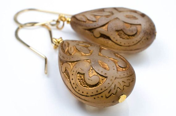 Golden Mocha Brown Arabesque Earrings