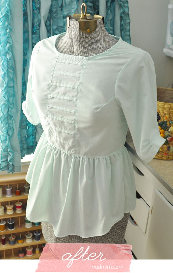 Button Up Refashion Swap: white men's dress shirt to peplum blouse (full tutorial) + links to 9 other awesome tutorials!