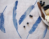 Tea Towel Floaty Feather Sea Blue - hand screen printed on Eco friendly Linen