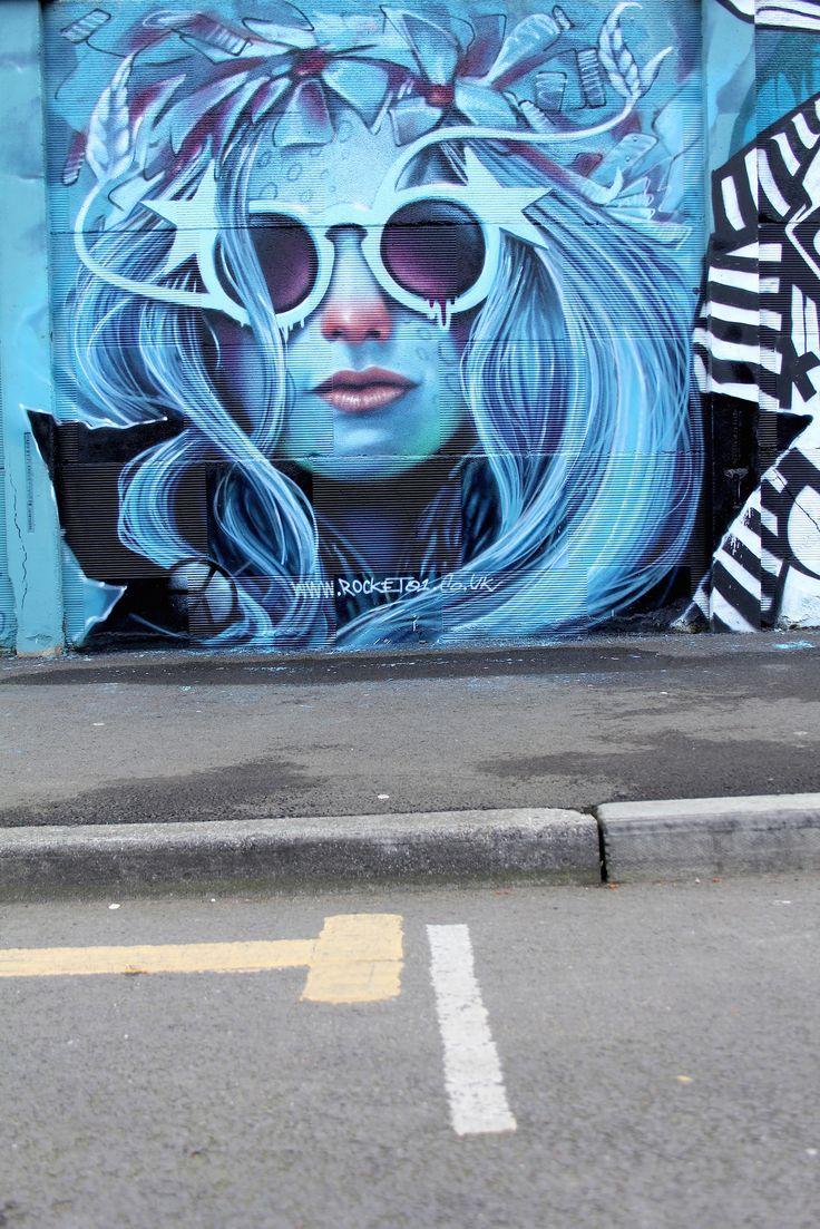 Blue girl, Graffiti street art Sheffield 2015