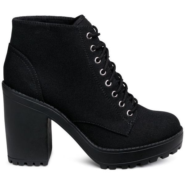 Canvas Platform Boots $39.99 ($40) ❤ liked on Polyvore featuring shoes, boots, black high heel boots, platform shoes, lace-up boots, black shoes and black platform shoes