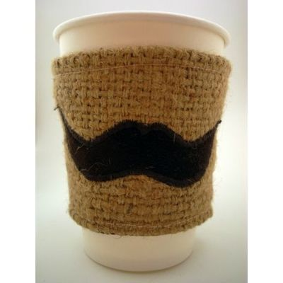 reusable mustache coffee sleeve