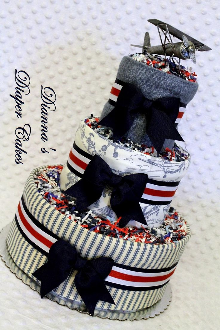 Vintage Airplane Baby Diaper Cake Shower Gift or Centerpiece by www.diannasdiapercakes.com www.diannasdiapercakes.etsy.com