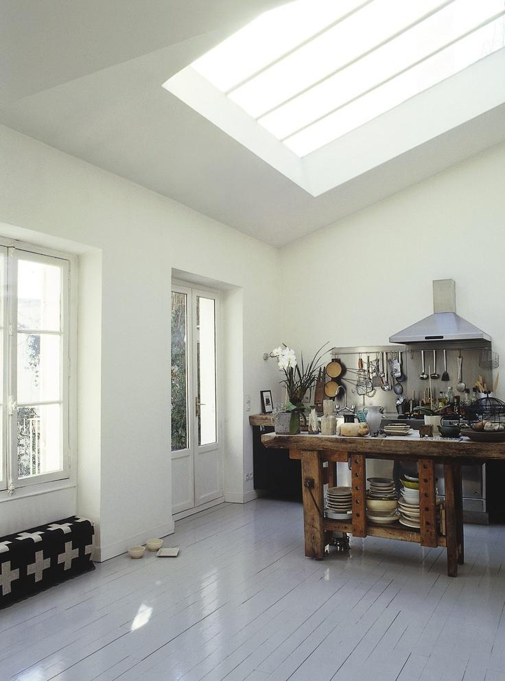 kitchen: Painting Floorboards, Kitchens Floors, Grey Floors, Grey Kitchens, Painting Wood, Painting Floors, Sky Lights, Gray Floors, Gray Painting