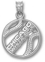 Chicago White Sox Sterling Silver ''CHICAGO WHITE SOX'' Pierced Baseball Pendant