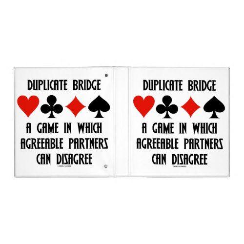 Duplicate Bridge Game Agreeable Partners Disagree Binder