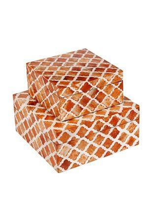 Purva Nested Damask Bone Boxes, Orange