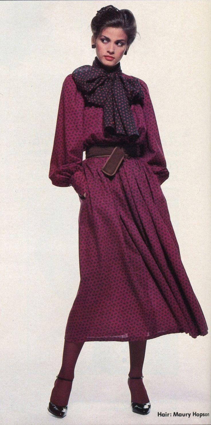 "Vogue Patterns  November/December 1978 Gia models a ""flowing Dior restaurant dress."" Photo: Chris von Wangenheim"