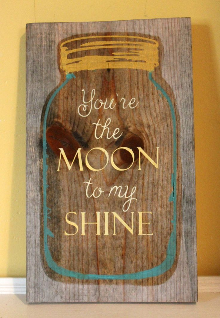 Mason Jar Wood Sign Moonshine Jar Sign Rustic by PalateForPallets